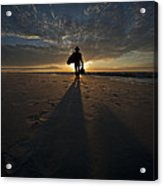 Silhouette Of A Man Wearing Hat And The Bag In Hand Walking On The Seashore Acrylic Print