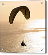 Silhouette Of A Paraglider Flying Acrylic Print