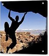 Silhouette Of A Rock Climber Acrylic Print