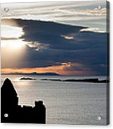 Silhouette Of Dunluce Castle Acrylic Print by Semmick Photo