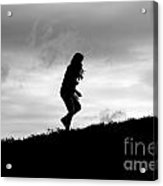 Silhouette Of Girl Running Acrylic Print