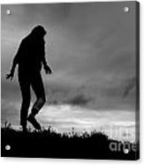 Silhouette Of Girl Walking Acrylic Print