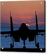 Silhouette Of Military Attack Aircraft Against Vibrant Sunset Sk Acrylic Print