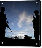 Silhouette Of Modern Soldiers  Acrylic Print