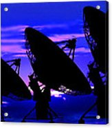 Silhouette Of Satellite Dishes Acrylic Print