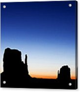 Silhouette Of The Mitten Buttes In Monument Valley  Acrylic Print