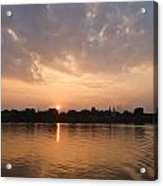 Silhouette Scenery Of  Nakorn Phanom City From Mekong River Acrylic Print
