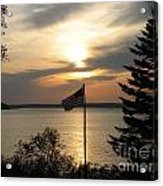 Silhouetted Flag At Sunset Acrylic Print