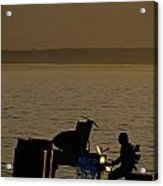 Silhouetted Sea Monster Playing Piano.tif Acrylic Print