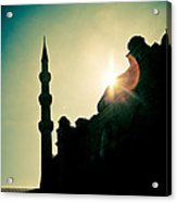 Silhouettes Of Blue Mosque Istambul Turkey Acrylic Print