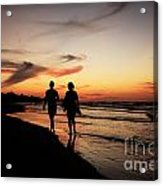 Silhouettes On Varadero Beach Acrylic Print