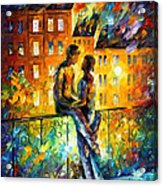 Silhouettes - Palette Knife Oil Painting On Canvas By Leonid Afremov Acrylic Print