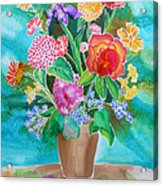 Silk Teal Bouquet Acrylic Print by Sandra Fox