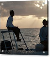 Sillouetted Man Steers Flats Boat Acrylic Print