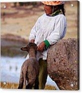 Sillustani Girl With Hat And Lamb Acrylic Print