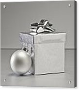 Silver Bauble And Present Acrylic Print
