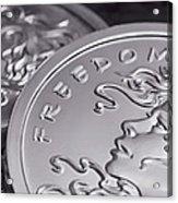 Silver Bullion Freedom Girl Acrylic Print