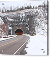Silver Creek Cliff Tunnel Winter 1 Acrylic Print