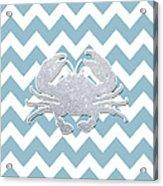 Silver Glitter Crab Silhouette - Chevron Pattern Acrylic Print