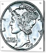 Silver Mercury Dime Acrylic Print