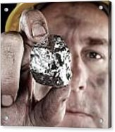Silver Miner With Nugget Acrylic Print