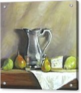 Silver Pitcher With Pears Acrylic Print