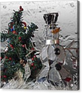 Silver Snowman With Christmas Tree Acrylic Print
