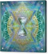 Silver Torquoise Chalicell Ring Flower Of Life Matrix II Acrylic Print