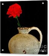 Simple Carnation In Pottery Acrylic Print by Marsha Heiken
