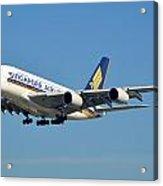 Singapore Airbus A380-841 9v-skn Los Angeles International Airport January 19 2015 Acrylic Print