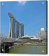 Singapore Artscience Museum Double Helix Bridge And Marina Bay  Acrylic Print