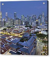 Singapore Central Business District Over Chinatown Blue Hour Acrylic Print
