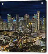Singapore Central Business District Skyline And Chinatown At Dus Acrylic Print