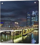 Singapore City By The Fullerton Pavilion At Night Acrylic Print