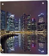 Singapore City Skyline Along Marina Bay Boardwalk At Night Acrylic Print