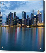 Singapore City Skyline At Blue Hour Acrylic Print