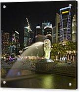 Singapore City Skyline At Merlion Park Acrylic Print