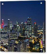 Singapore Cityscape At Blue Hour Acrylic Print