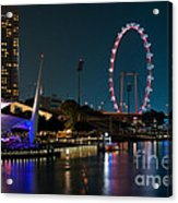 Singapore Flyer At Night Acrylic Print by Rick Piper Photography