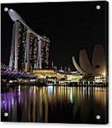 Helix Bridge To Marina Bay Sands Acrylic Print
