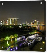 Singapore Night Skyline From Marina Barrage Acrylic Print