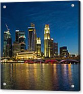 Singapore River Waterfront Skyline At Blue Hour Acrylic Print