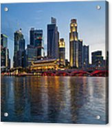 Singapore River Waterfront Skyline At Sunset Acrylic Print