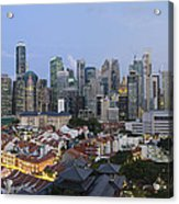 Singapore Skyline Along Chinatown Evening Acrylic Print