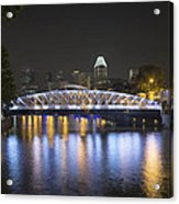 Singapore Skyline By Anderson Bridge At Night Acrylic Print