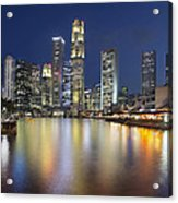 Singapore Skyline By Boat Quay Vertical Acrylic Print