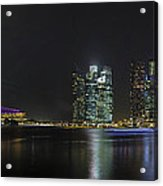 Singapore Skyline With Laser Light Show Acrylic Print