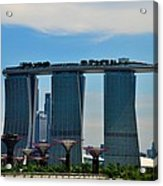 Singapore Skyline With Marina Bay Sands And Gardens By The Bay Supertrees Acrylic Print