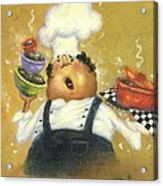 Singing Chef In Gold Acrylic Print