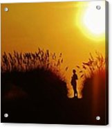 Single Woman Dunes Surise Acrylic Print